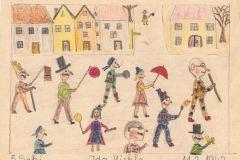 """Gemalt von Ida Miehle in der 5. Klasse 1947. Es stellt einen Fasnetsumzug dar. An dem Umzug haben sog. """"Schwellköpfe"""" also Figuren mit übergroßen Köpfen teilgenommen. Die haben Ida Miehle damals stark beeindruckt, so dass sie dies im Bild festgehalten hat. - Vielen Dank Jo Bierer für dieses tolle Foto!"""